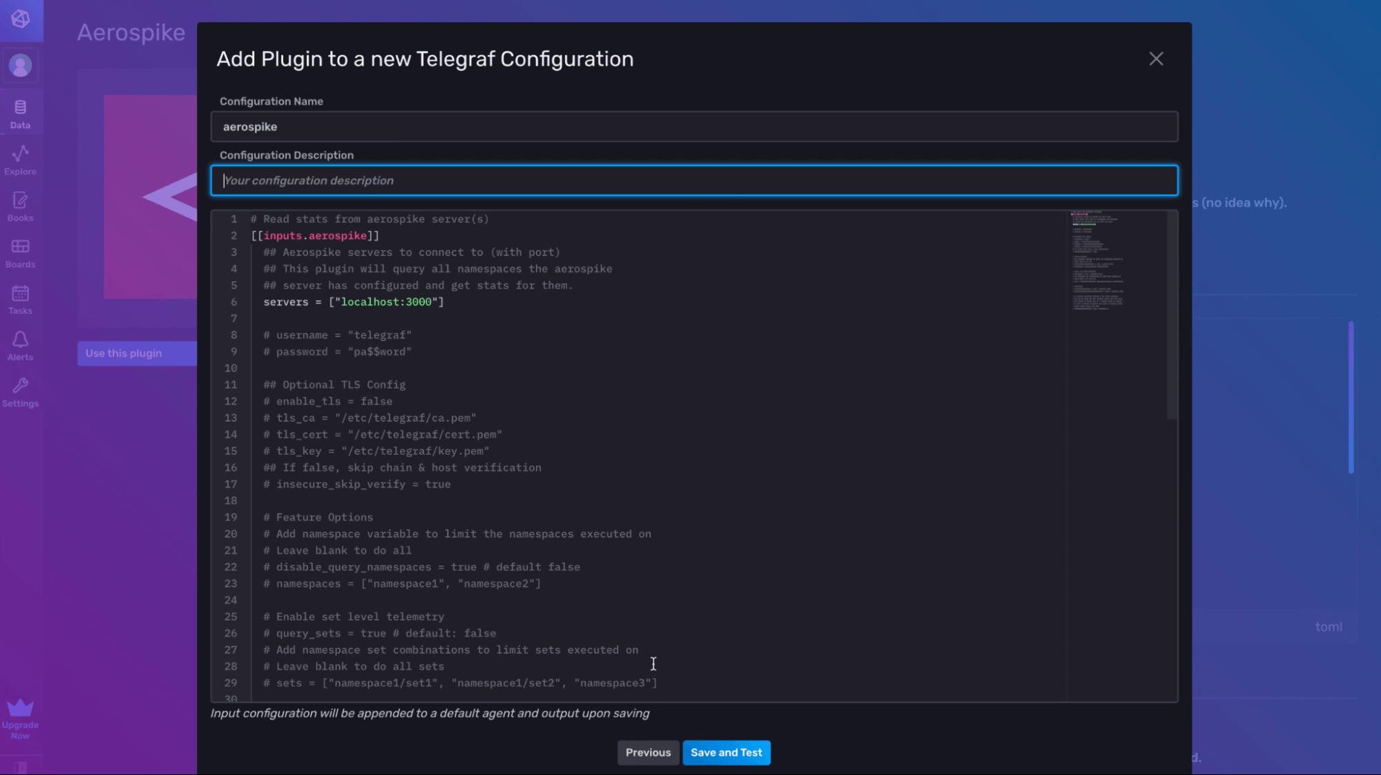 Add Plugin to a new Telegraf configuration