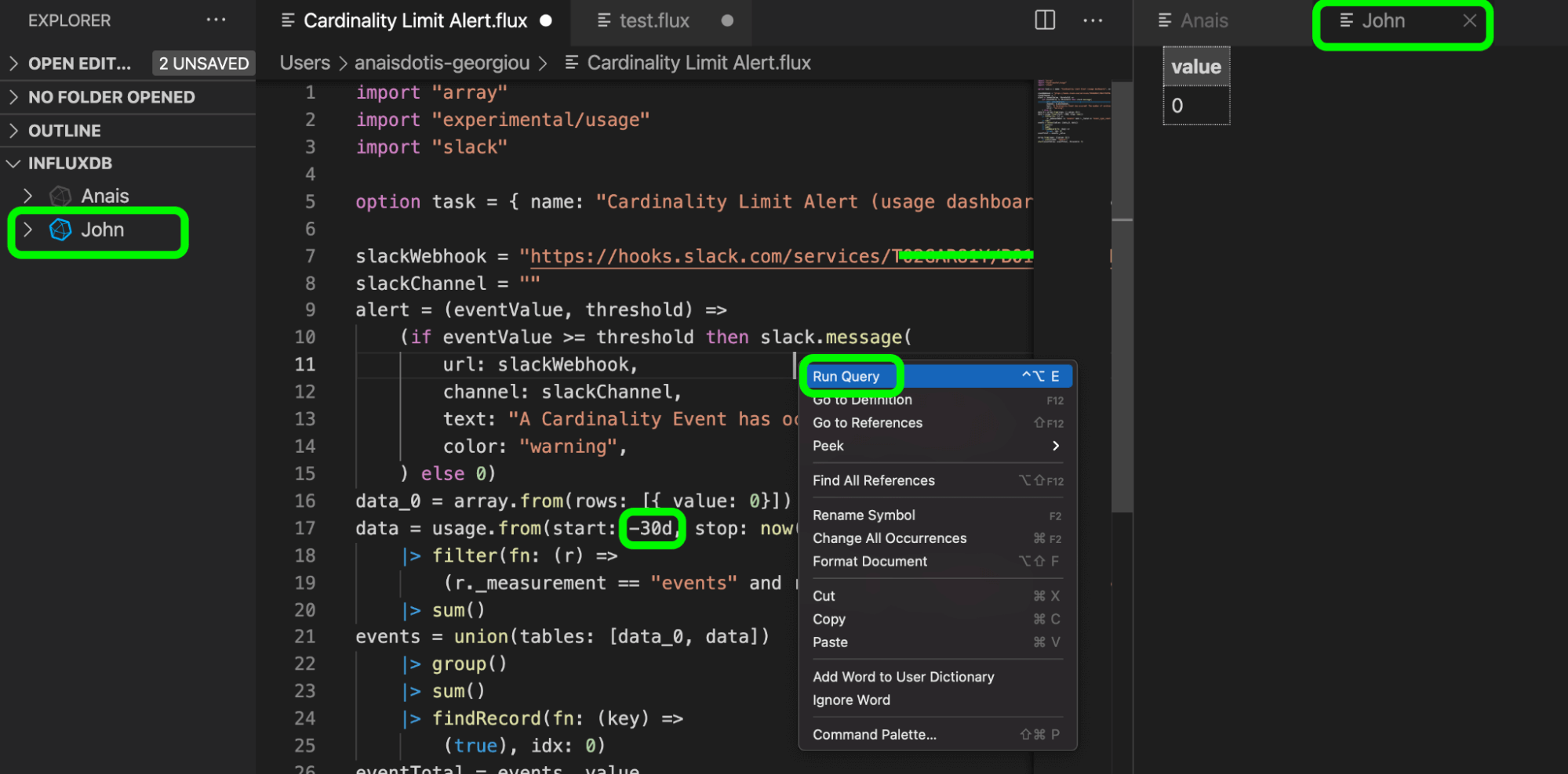 An example of editing a Task in VS Code with the Flux extension