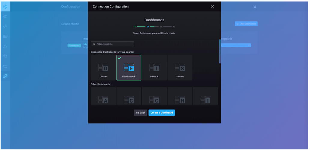 Connection configuration dashboards