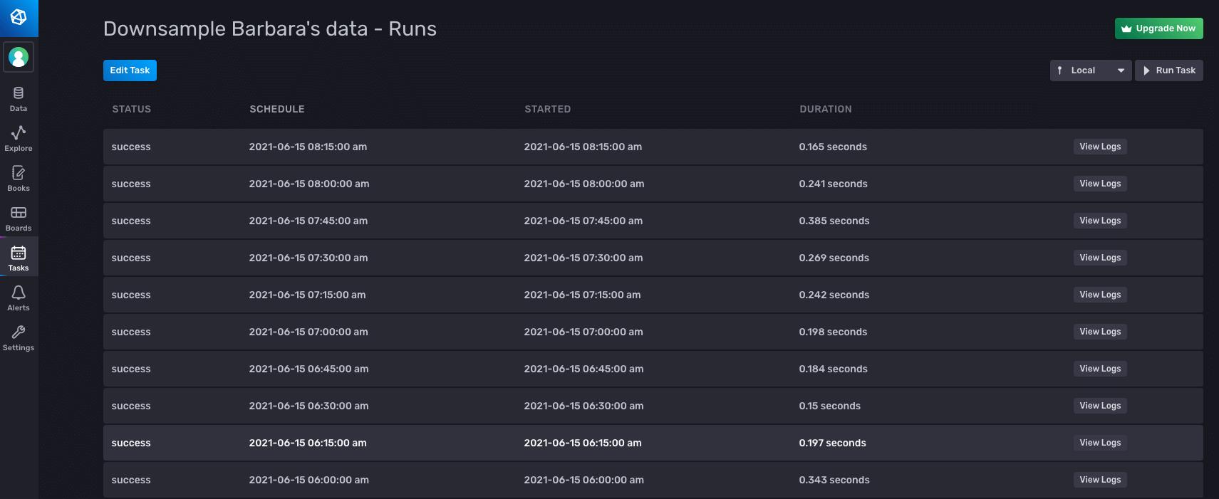 Downsample Barbaras data - runs