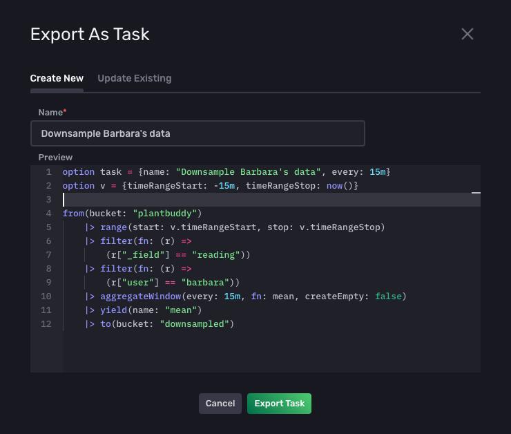 Export as task tab