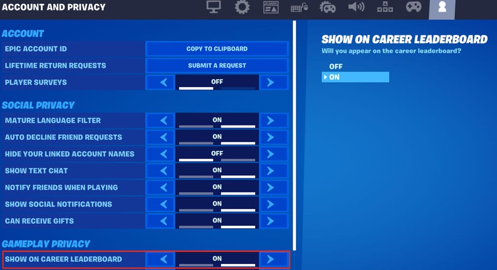 Fortnite account and privacy settings
