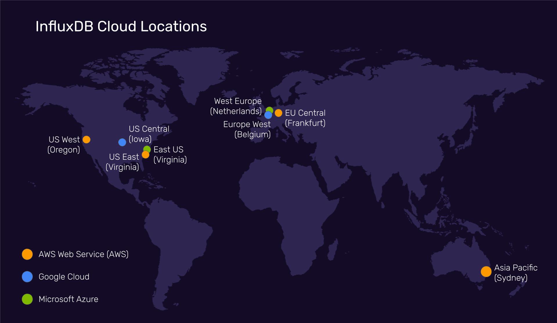 InfluxDB Cloud Locations Map