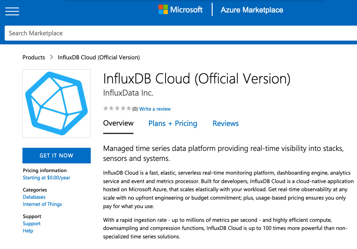 InfluxDB Cloud on Azure Marketplace