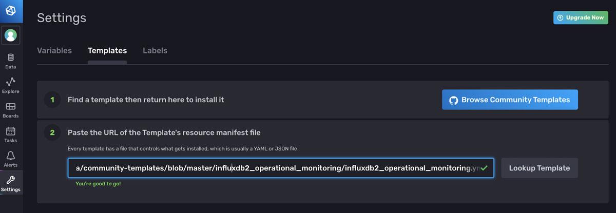 Operational Monitoring Template - Settings