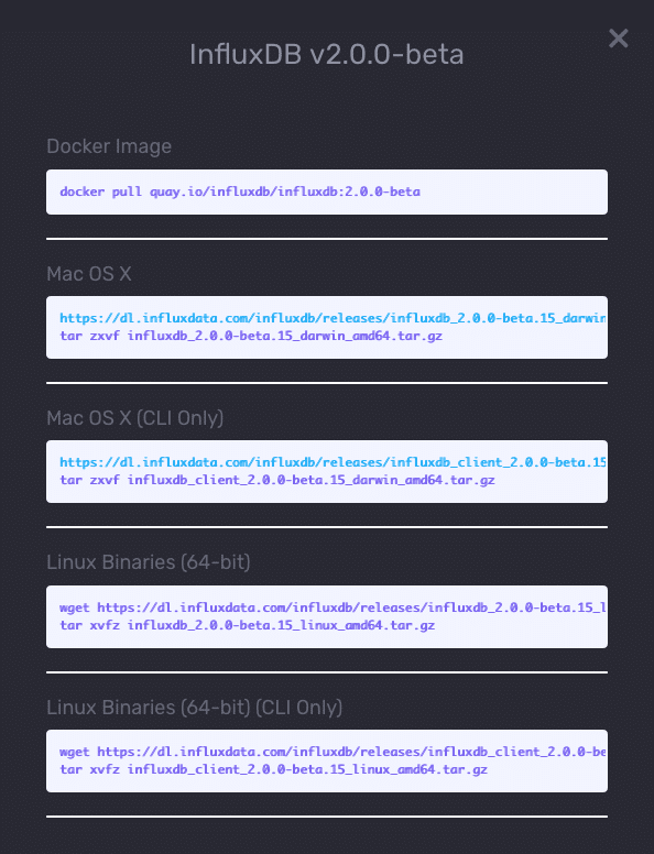 Options for downloading InfluxDB