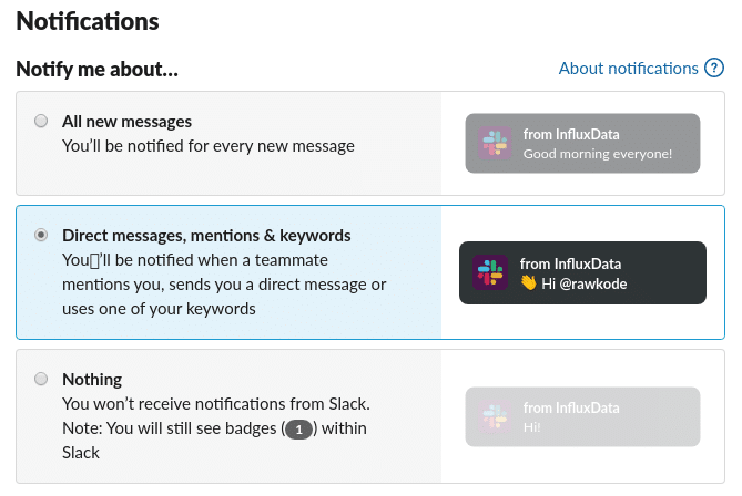 Settings page for Slack that shows silencing Slack notifications unless explicitly tagged
