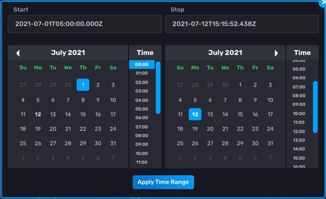 Setting custom time range for your dashboard