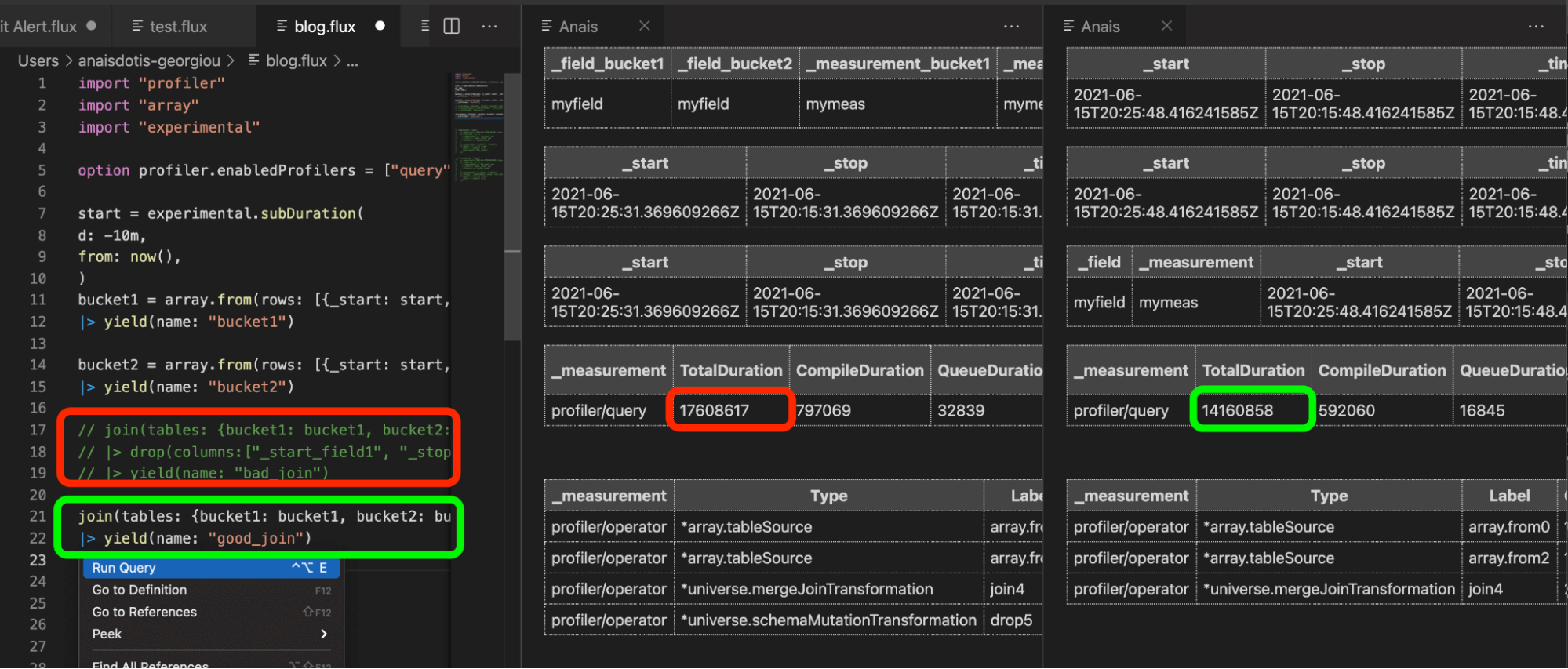 Using the Flux VS Code extension to compare the outputs of the Flux profiler