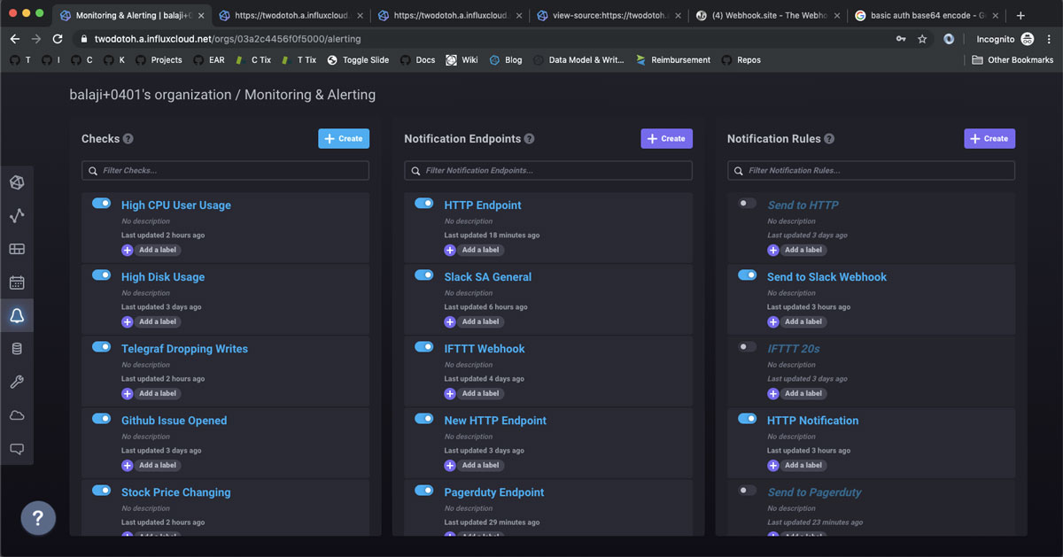 InfluxDB Cloud 2.0 serverless platform - Checks, Notification Endpoints, and Notification Rules