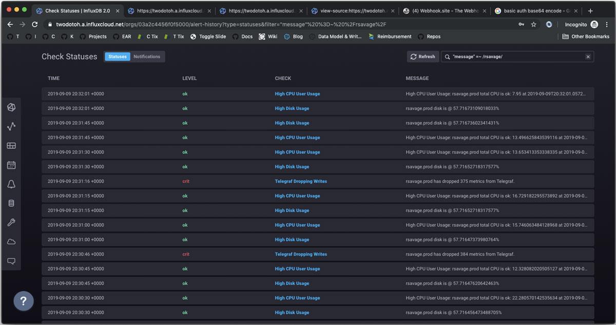 InfluxDB Cloud 2.0 serverless platform UI view of status history