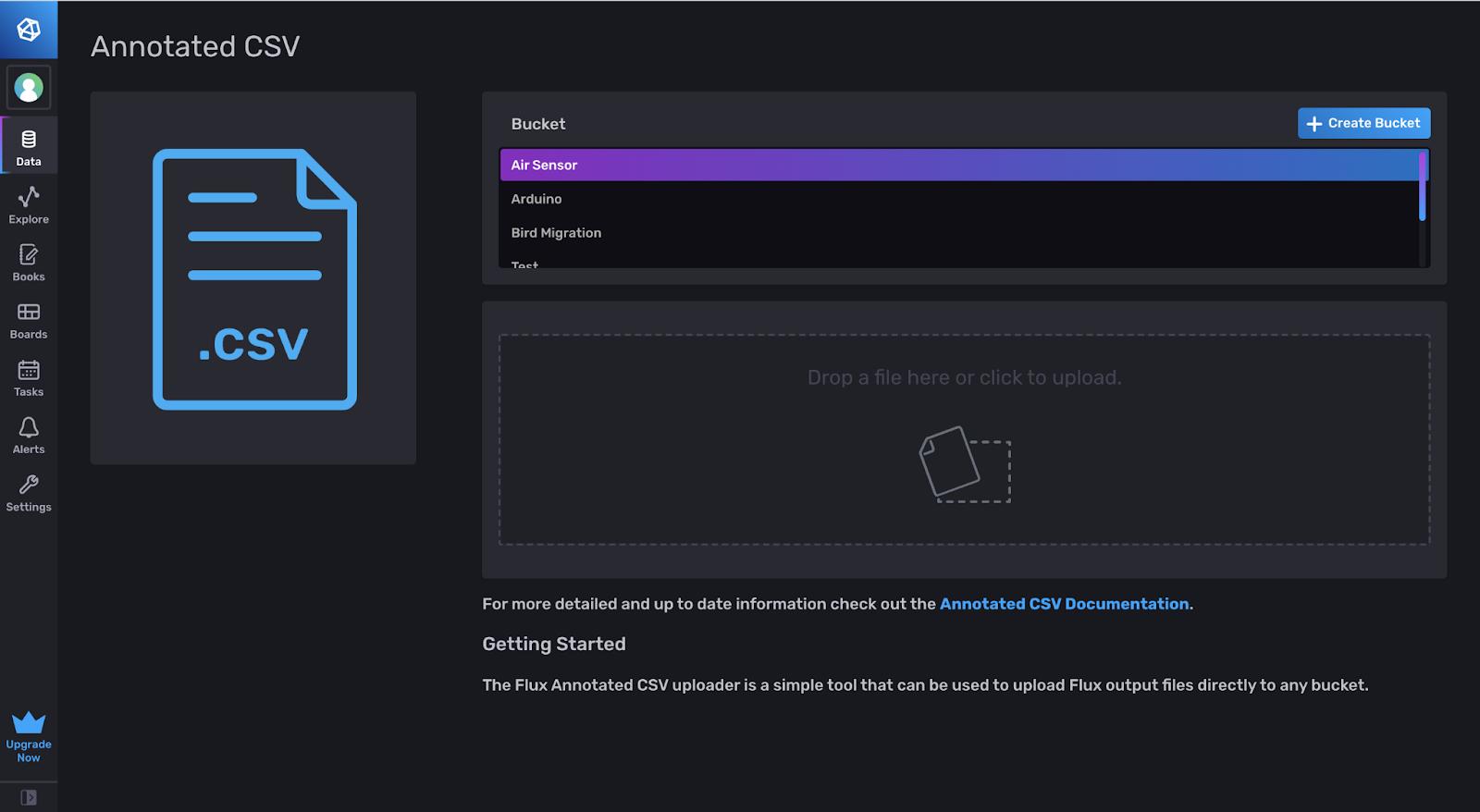 InfluxDB annotated CSV upload data