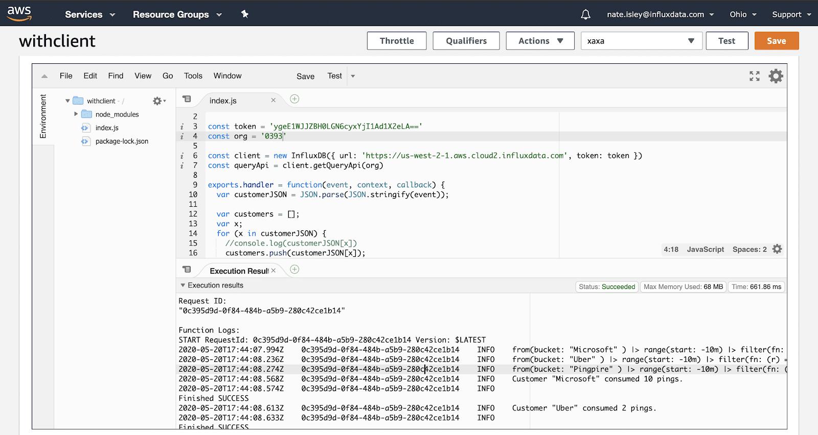 AWS IDE Output - InfluxDB Lambda