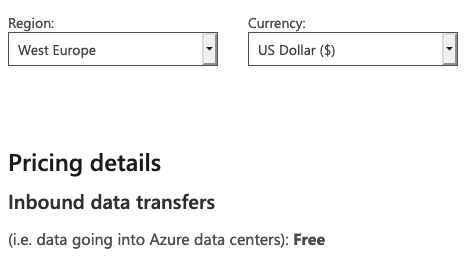 Azure data transfer pricing