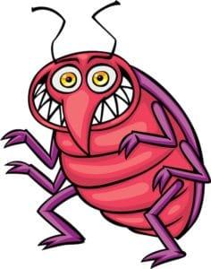 Cartoon of a red bug