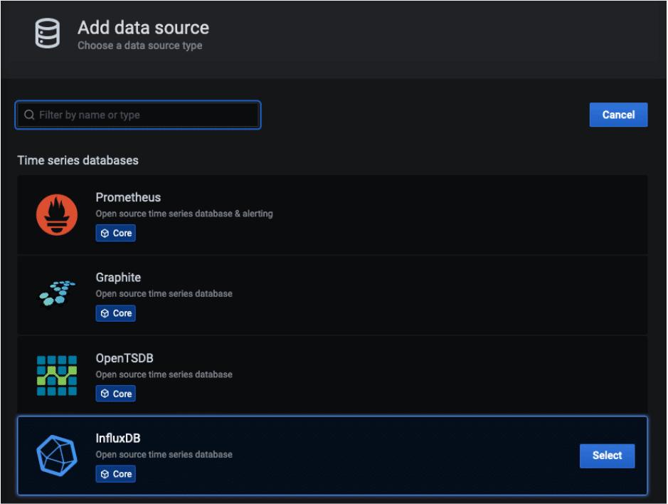 InfluxDB choose data source type