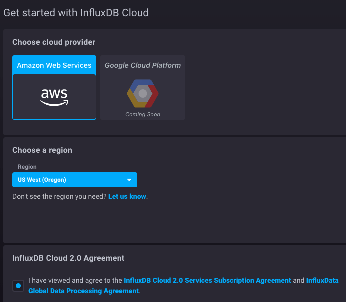InfluxDB Cloud aws cloud provider
