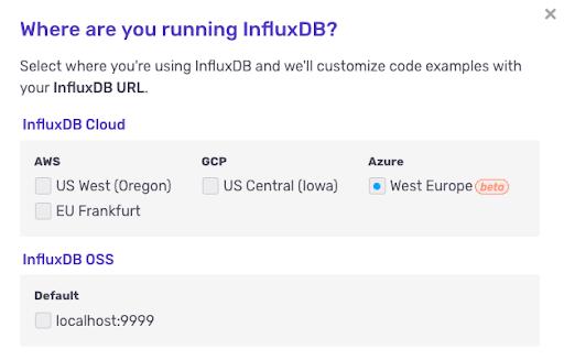 InfluxDB Cloud Azure url