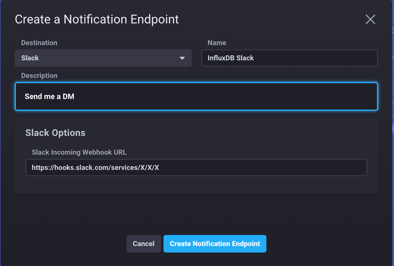 InfluxDB Cloud - create notification endpoint