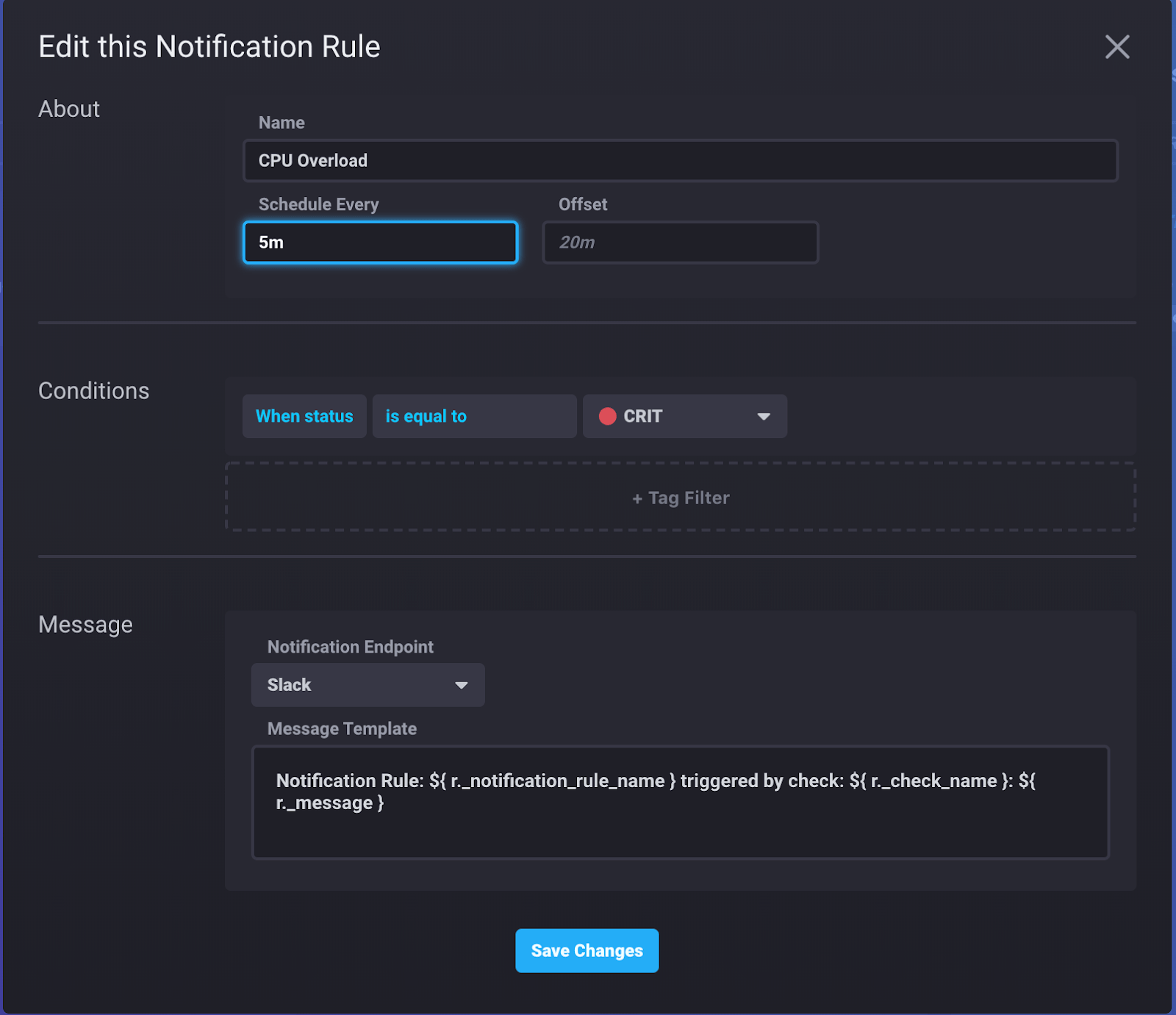 InfluxDB Cloud - edit notification rule