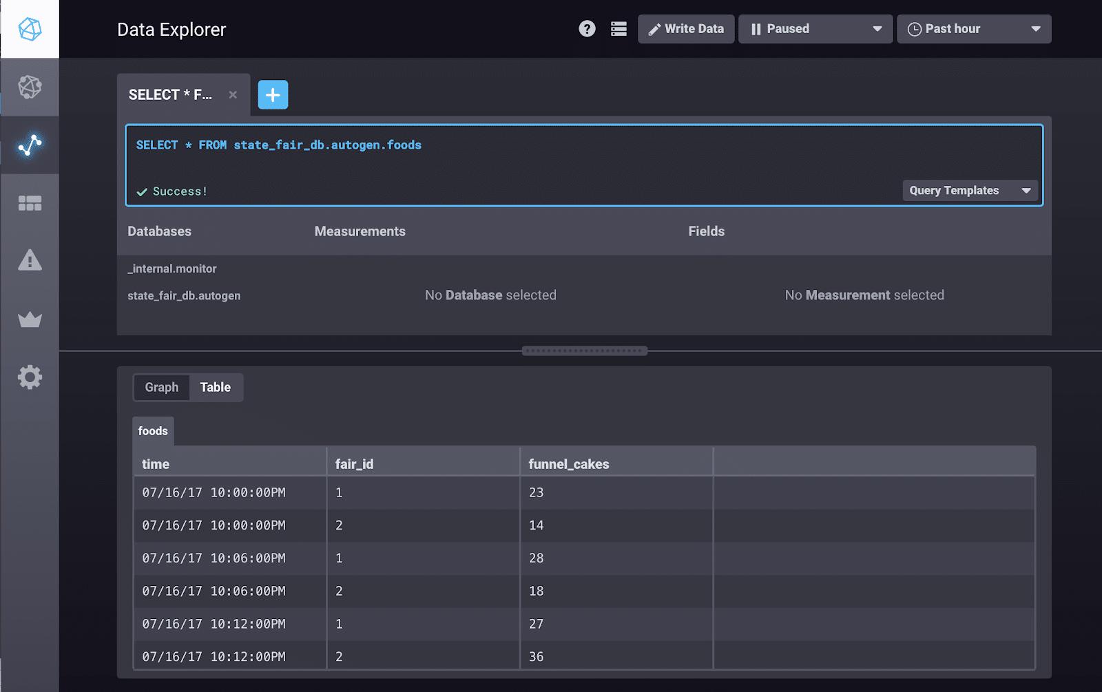 InfluxDB Data Explorer ad hoc analysis