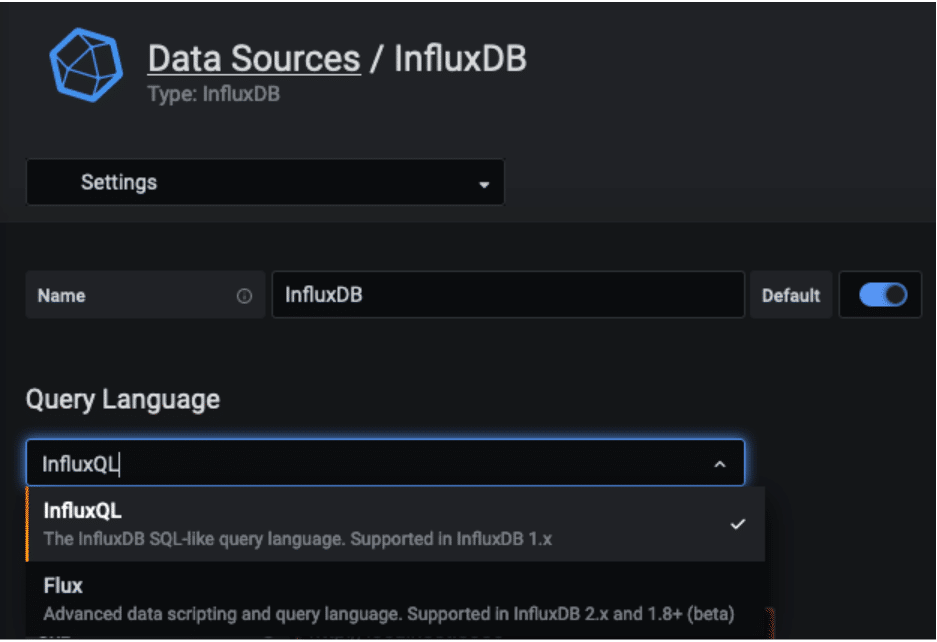 InfluxDB data source language