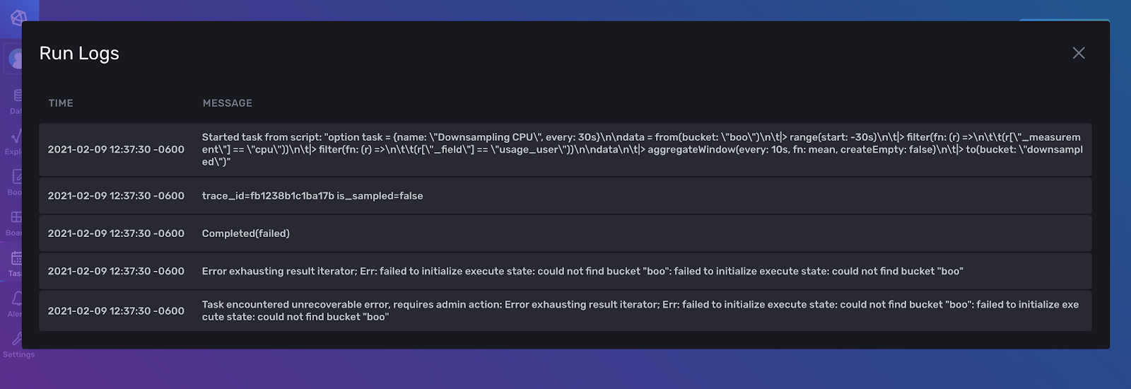 InfluxDB Run Logs screenshot