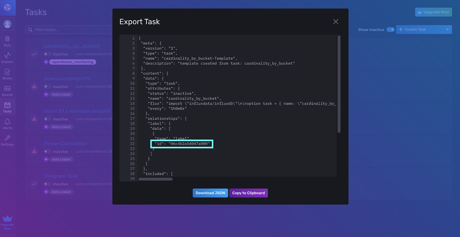 You can gather your Task ID from the Task JSON