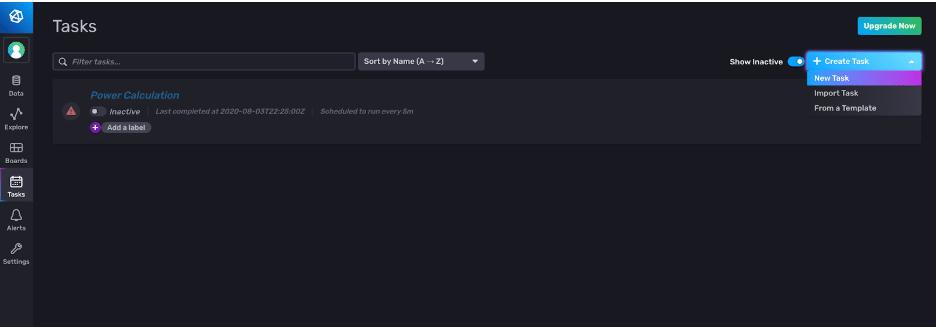 influxdb task tab