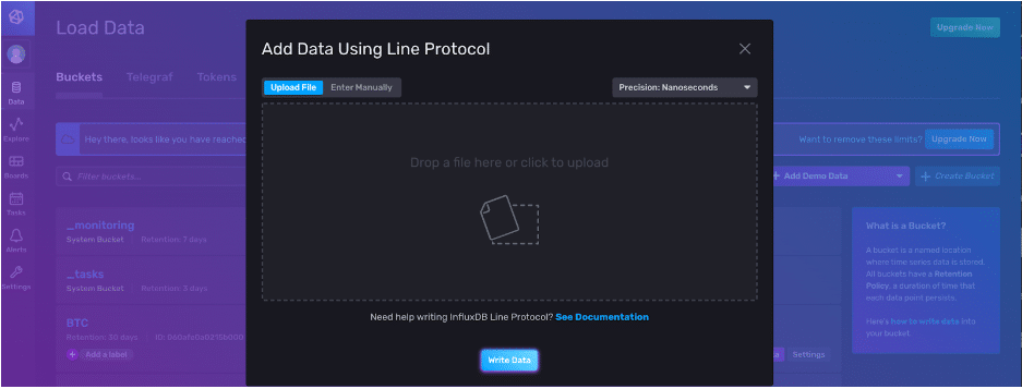 Adding data using line protocol via the InfluxDB v2 UI