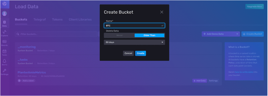 influxdb v2 create bucket