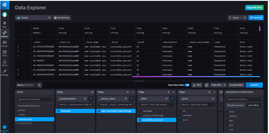 influxdb view check output