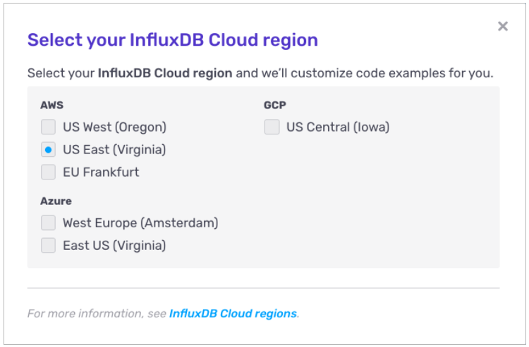 select influxdb cloud region