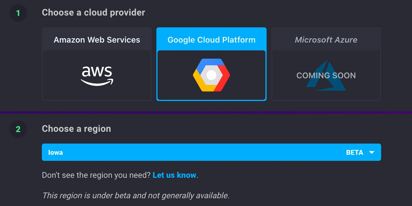 Sign up for InfluxDB on Google Cloud