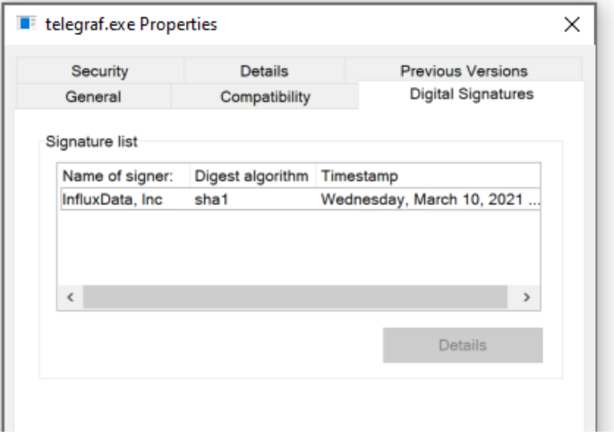 In Telegraf 1.18, the Windows binaries include a signed executable and can be viewed in the `telegraf.exe` properties.