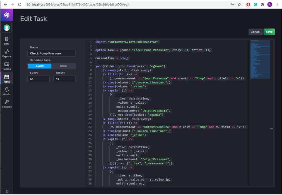 stream analysis influxdb tasks