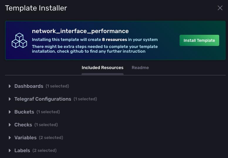 Template installer screen
