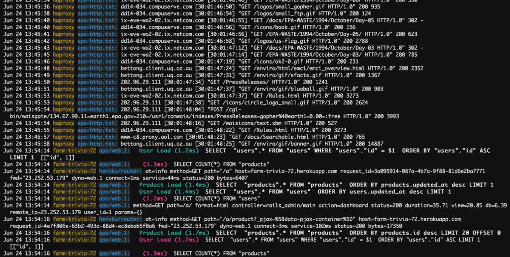 time series data log data screenshot