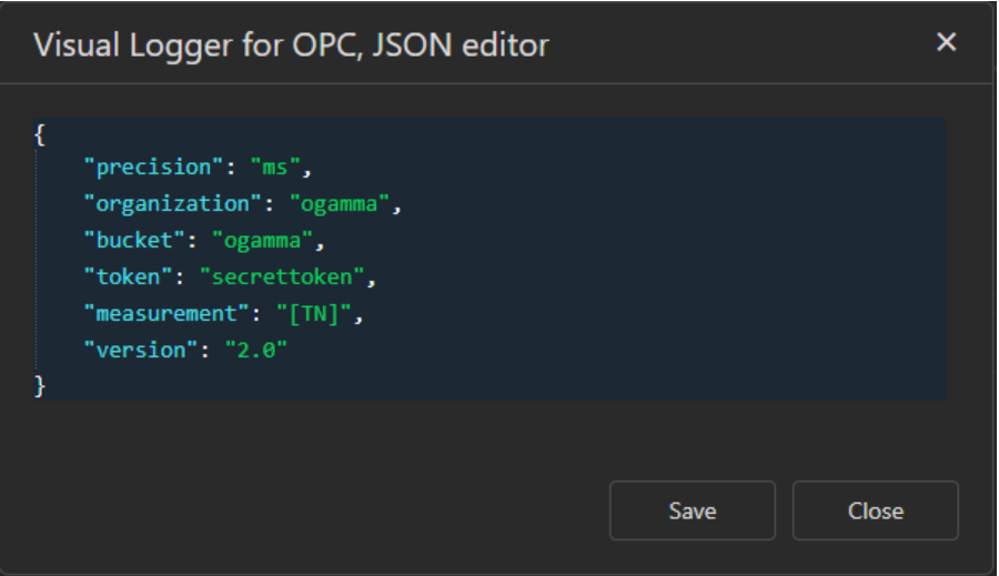 visual logger for opc json editor