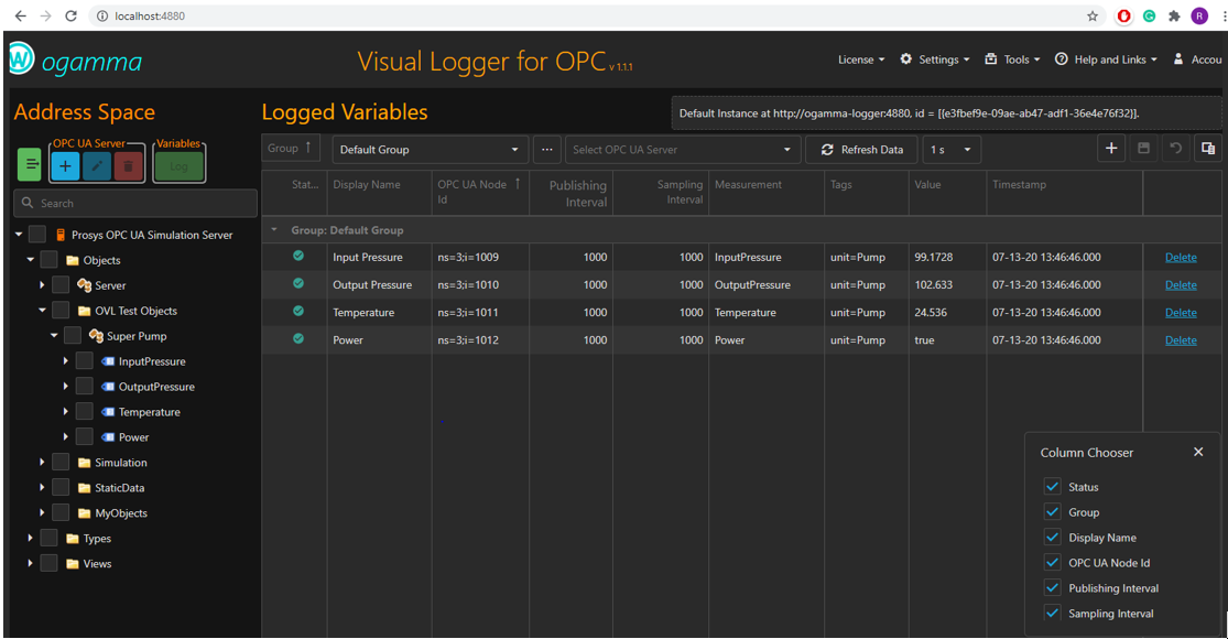 visual logger for opc